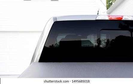 Blank black rear vehicle window, truck window mockup
