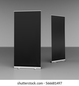 Blank black roll up banner stands on gray floor. Include clipping paths around stand and ad banner. 3d render