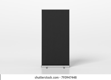 Blank black roll up banner stands isolated on white. 3d illustration