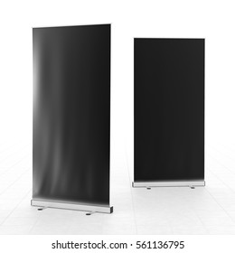 Blank black roll-up banner stand isolated on white floor. Include clipping paths around stand and ad banner. 3d render
