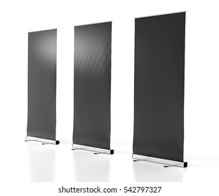 Blank black roll-up banner stands isolated on white background. Include clipping paths around stand and display banner. 3d render