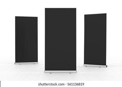 Blank black roll-up banners stand isolated on white floor. Include clipping paths around stand and ad banner. 3d render