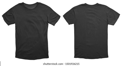 Blank black shirt mock up template, front and back view, isolated on white, plain t-shirt mockup. Tee sweater sweatshirt design presentation for print. - Shutterstock ID 1501926215
