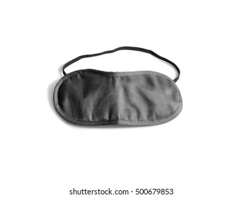 Blank black sleeping mask mockup, isolated, clipping path. Asleep cover band design mock up. Clear satin visor template. Sleeplessness grey cotton insomnia treatment.