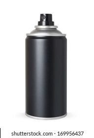 Blank black spray can, isolated on white background