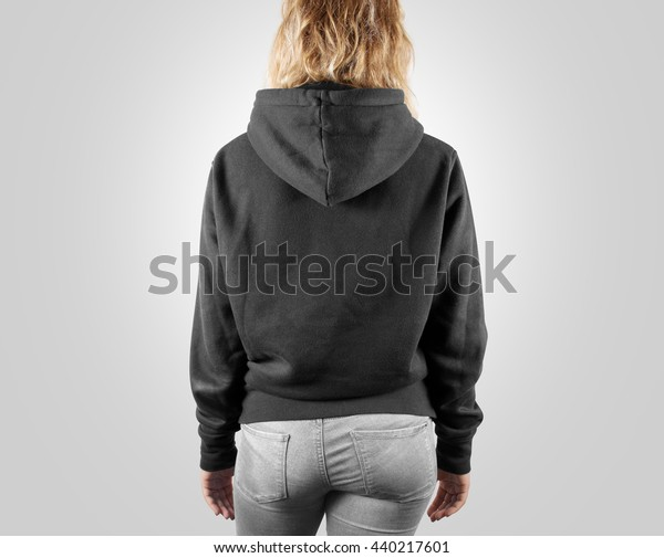 90d8ddc3a9e8b Blank black sweatshirt mock up back side view, isolated. Female wear grey  plain hoodie