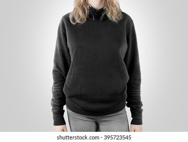 Blank black sweatshirt mock up isolated. Female wear dark hoodie mockup. Plain hoody design presentation. Clear gray loose overall model. Pullover for print. Man clothes grey sweat shirt template.