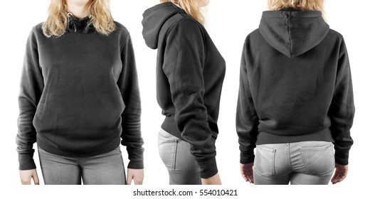 Blank black sweatshirt mock up set isolated, front, back and side view. Woman wear grey hoodie mockup. Plain hoody design presentation. Textile gray loose overall model. Pullover for print