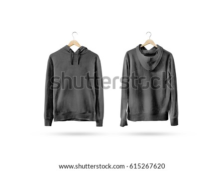 0c04c51d24c03 Blank black sweatshirt mockup set hanging on wooden hanger, front and back  side view.
