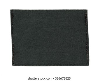 blank black textile label isolated on white background