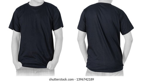 Blank Black T-shirt (front, back) isolated on white background