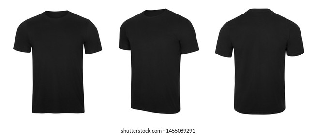 Blank black t-shirt, front and back view, isolated white background with clipping path.