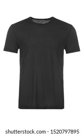 Blank black t-shirt, front view, isolated on white background
