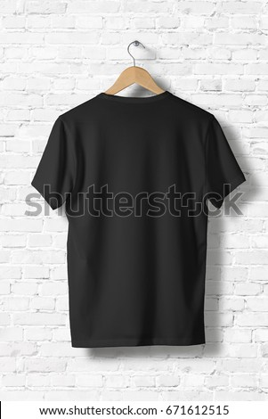 043967fdaa Blank Black T-Shirt Mock-up hanging on white wall, rear side view . Ready to  replace your design - Image