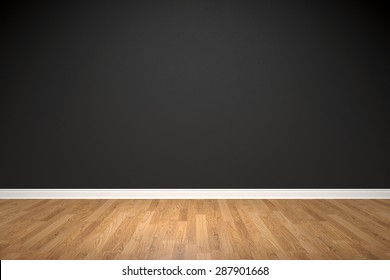 Blank black wall and wooden floor