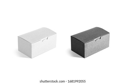Blank black and white closed craft box mock up set, isolated. Empty takeout paper pack for dinner mockup, side view, isolated. Clear chips or cake paperboard case mokcup template.