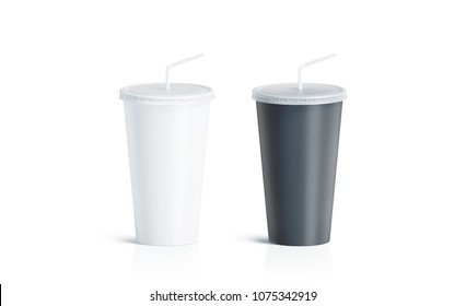 Blank black and white disposable cup with straw mock up isolated, 3d rendering. Empty paper soda drinking mug mockup with lid and tube front view. Clear soft drink cola take away plastic package