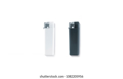 Blank black and white gas lighter mock up, isolated. Empty cigar-lighter mockup lying on surface, top view. Sigarette lighter template.