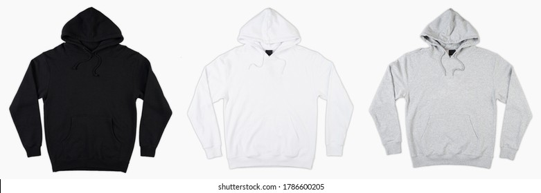 Blank black, white and grey male hoodie sweatshirt long sleeve with clipping path, mens hoody with hood for your design mockup for print, isolated on white background. Template sport winter clothes.