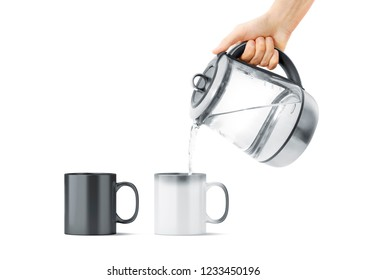 Blank black and white magic mug with hot teapot mockup, isolated. Ceramic cup filling water with kettle in hand mock up, front view. Chameleon utensil for coffee or tea with thermoprint.