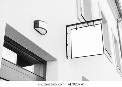 Blank black and white outdoor business signage mock up to add company logo