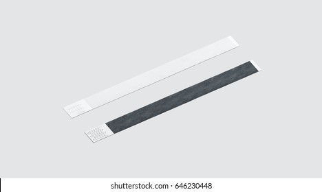 blank black and white paper wristband mockup 3d rendering empty event wrist band design