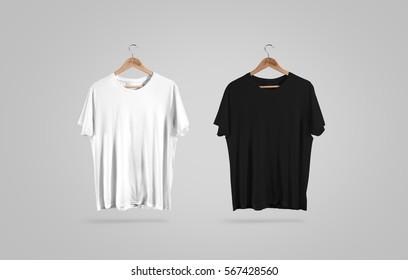 Blank black and white t-shirt on hanger, design mockup. Clear plain cotton tshirt mock up template. Apparel store logo mokc branding display. Crew shirt mokcup surface hang on wood hanger