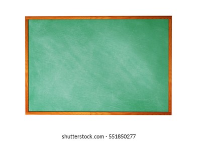 Blank blackboard with wood frame isolated on white background.