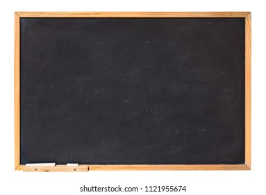 blank blackboard with wooden frame and chalk - empty chalkboard isolated with clipping path