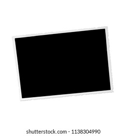 blank blacked out old photograph with border on white background with drop shadow