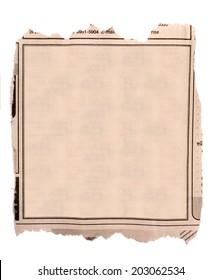 Blank block of old newspaper advertise