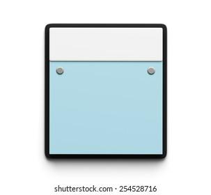 Blank Blue Calendar isolated on white background