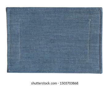blank blue denim tag isolaited on white background