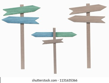 blank and blue and green wooden directional signs on pole, pointing left and right, isolated on white background