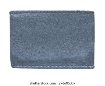 blank blue leather label on white background