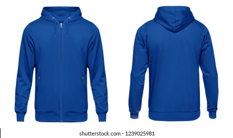 Blank blue male hoodie sweatshirt long sleeve with clipping path, mens hoody with zipped for your design mockup for print, isolated on white background. Template sport winter clothes.