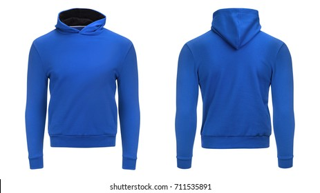 Blank blue male hoodie sweatshirt  with clipping path, mens pullover for your design mockup and template for print, isolated on white background