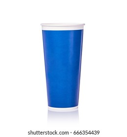 Blank blue paper cup for soft drink or coffee. Studio shot isolated on white background