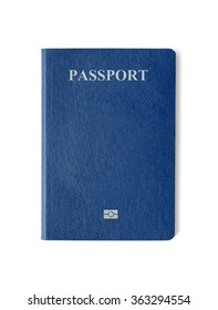 Blank blue passport background on white background with clipping path.