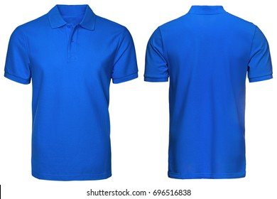 blank blue polo shirt, front and back view, isolated white background. Design polo shirt, template and mockup for print