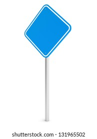 Blank blue rectangle traffic sign isolated on white. 3d illustration.