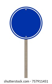 Blank blue road sign or Empty traffic signs isolated on white background. Objects clipping path