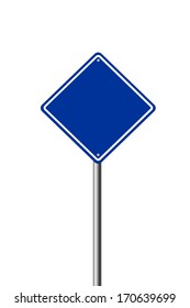 Blank blue road sign isolated on white background.