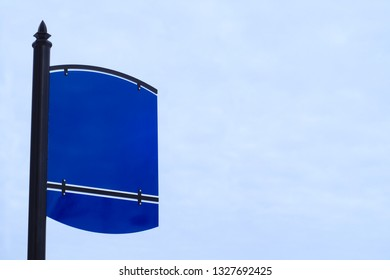 blank blue sign white sky empty metal placard