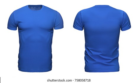 blank blue t shirt template used for your design isolated on white background with clipping path