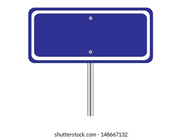 Blank Blue Traffic Road Sign on White