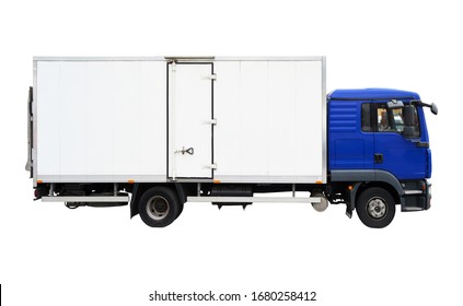 Blank blue truck isolated on a white background, truck used for transportation and cargo
