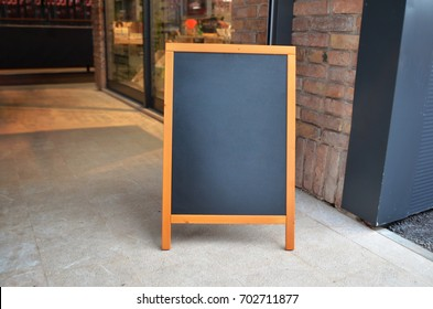 Blank board menu mock-up, stand at the entrance of the restaurant