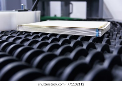 Blank Book Block Pages Production Conveyor Belts Being Transported Finishing Binding Factory Line