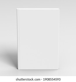 Blank book cover mock up on white background. View directly above. 3d illustration